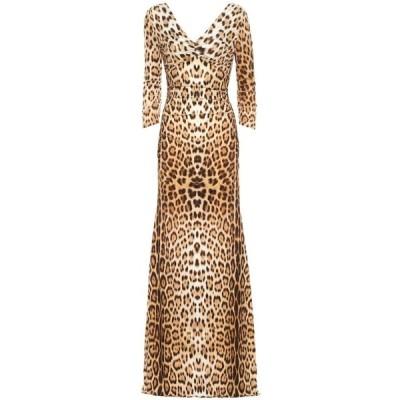 ロベルト カヴァリ Roberto Cavalli レディース ワンピース マキシ丈 ワンピース・ドレス Leopard-print jersey maxi dress Tan/Black
