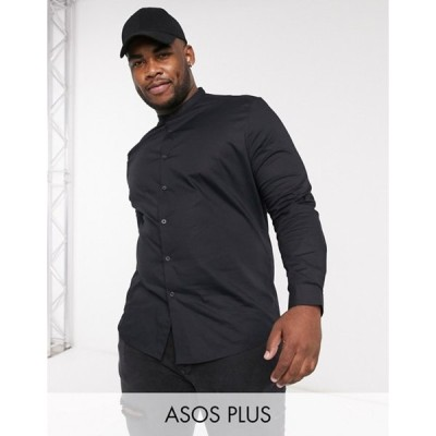 エイソス メンズ シャツ トップス ASOS DESIGN Plus skinny fit shirt with band collar in black