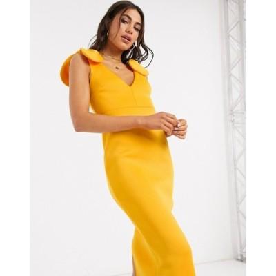 エイソス レディース ワンピース トップス ASOS DESIGN deep plunge midi dress with bows on shoulder in orange