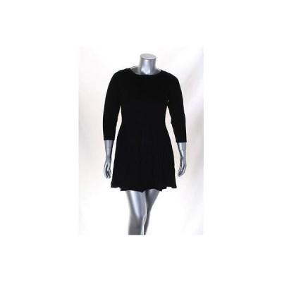 スタイル&コー-MMG ドレス ワンピース フォーマル Style&co ブラック Plus サイズ Ribbed ニット セーター ドレス Sz 0X MSRP 79  LAFO