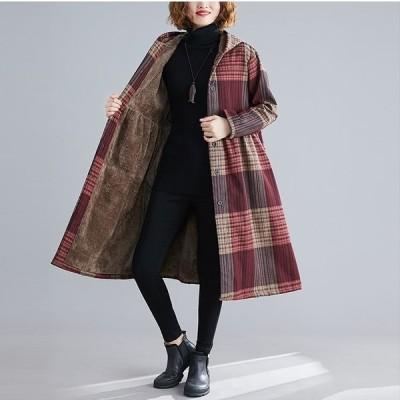 ボアコート レディース アウター レッド ブラウン チェック シャツ 裏起毛 もこもこ フェミニン 秋冬 Good Clothes