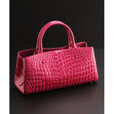 (sankyoshokai/サンキョウショウカイ)クロコダイルレザーハンドバッグ横型/レディース ピンク