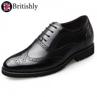 Britishly(ブリティッシュリィ) Britannia mkI Black Brogue Oxfords 6.5cmアップ 英国式シークレットシューズ