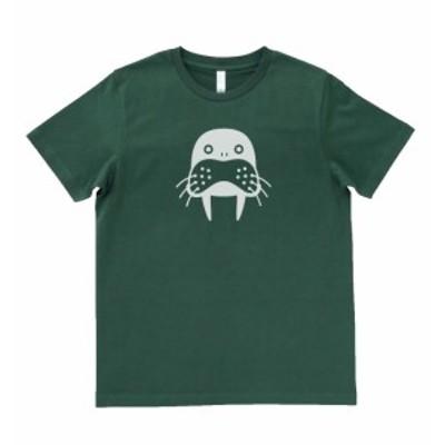 デザインTシャツ おもしろ 動物 生き物 セイウチ モスグリーン
