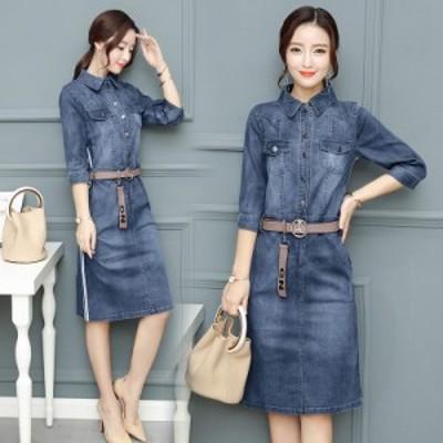 ワンピース ひざ丈 七分袖 カウボーイ ドレス 大きい サイズ #1552