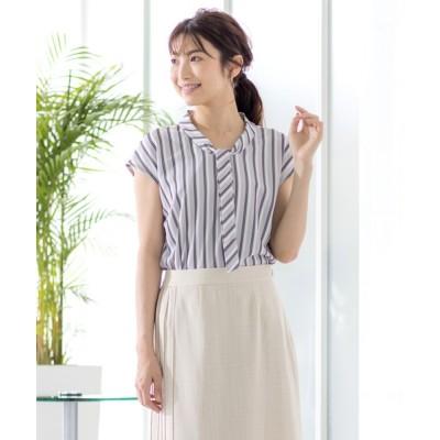 White Collection / ストライプジャガード織・ボウタイデザインブラウス※手洗い可 WOMEN トップス > シャツ/ブラウス