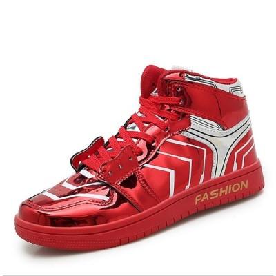 セール ハイカット メンズ レディース スニーカー エナメル 男女兼用サイズ カップル靴 ハイカットスニーカー メンズ 靴 ウォーキングシューズ おしゃれ