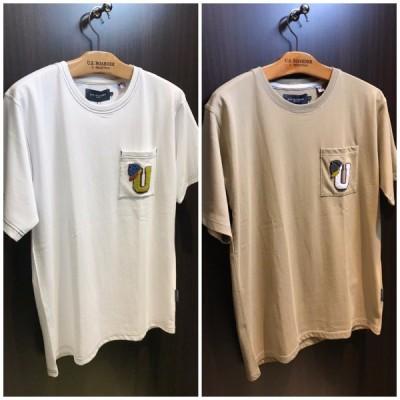ユーエスボーダー U.S.BOARDER メンズ カットソー トップス 半袖 Tシャツ ポケットTシャツ アップリケ 刺繍 ステッチ アメカジ