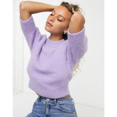 アンドアザーストーリーズ & Other Stories レディース ニット・セーター トップス fluffy short sleeve jumper in purple パープル