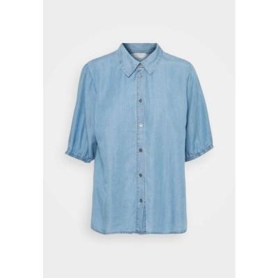 クリーム レディース ファッション AMIRA BALLON SLEEVE - Button-down blouse - blue denim
