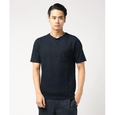 tシャツ Tシャツ メンズワッフル胸ポケット半袖Tシャツ カットソー