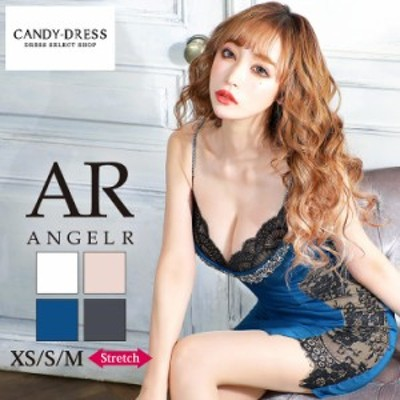 XS/S/M 送料無料 Angel R/エンジェルアール ストレッチ無地×バストビジューサイドレースデザインキャミスリーブタイトミニドレス AR2120