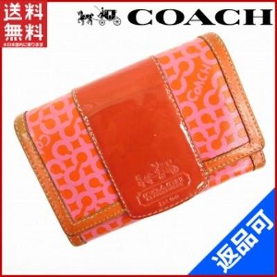 コーチ 財布 COACH 二つ折り財布 L字ファスナー財布 オレンジ×レッド×ピンク 即納 【中古】 X10984