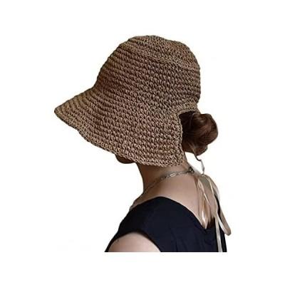 [エートレンドリード] レディース 麦わら帽子 ラフィアハット リボン UV カンカン帽 ハット フリンジ カットオフ (Free Size)
