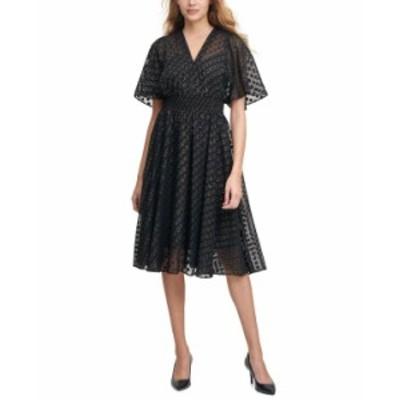 カルバンクライン レディース ワンピース トップス Clip-Dot Chiffon A-Line Dress Black/Gold