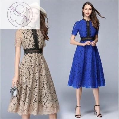 【ロングドレス 結婚式】 パーティードレス 結婚式 レース 刺繍 ドレス ワンピース 黒 大きいサイズ パーティー 二次会 お呼ばれ