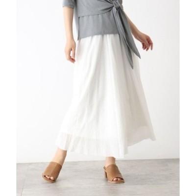 OZOC / オゾック [洗える]楊柳マキシ丈スカート