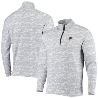 """メンズ ジャケット """"Atlanta Falcons"""" Cutter & Buck Traverse Camo Print DryTec Quarter-Zip Jacket - Gray"""