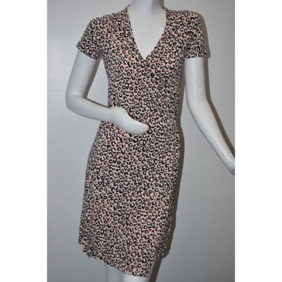 ワンピース エスカーダ ESCADA Sport Essey Wrap Dress Animal Leopard Print Pink Navy  Blue 36