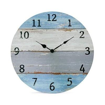 海外限定 NIKKY HOME Vintage Coastal Wall Clock - 16 Inch Battery Operated Silent Non Ticking Rustic Shiplap Wood Beach Blue Clock Home D