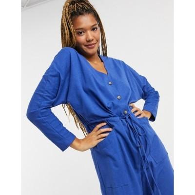 エイソス レディース ワンピース トップス ASOS DESIGN jersey button front long sleeve tie waist jumpsuit in blue