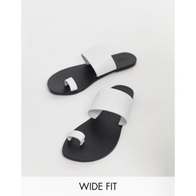 エイソス レディース サンダル シューズ ASOS DESIGN Wide Fit Faro leather toe loop flat sandals