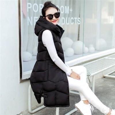 ダウンベスト中綿ベストレディースロング丈フード付き厚手ノースリーブジャケット暖かい冬物無地新作爆売中洗える大きいサイズ