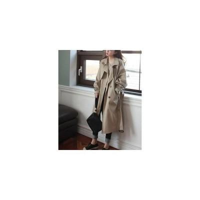 スプリングコートゆったりコートロング丈アウター大きいサイズ春コートレディースファッションフェミニンおとな可愛トップスいコートアウ
