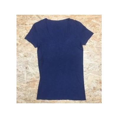 UNITED ARROWS ユナイテッドアローズ - レディース 半袖Tシャツ [実寸:肩幅40cm/着丈68cm/身幅41cm/袖丈16cm] Uネック USA製 杢ネイビー