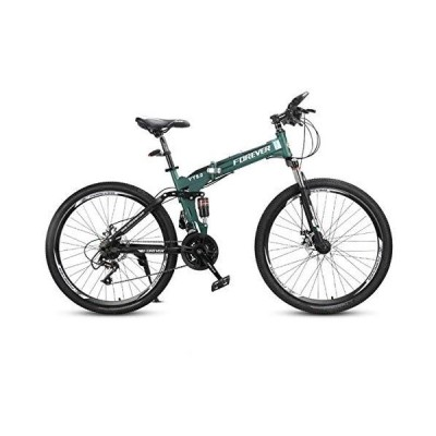JLFSDB Mountain Bike,Foldable Hardtail Bicycles,Full Suspension and Dual Disc Brake,26 Inch Wheels,24 Speed (Color : Green)【並行輸入