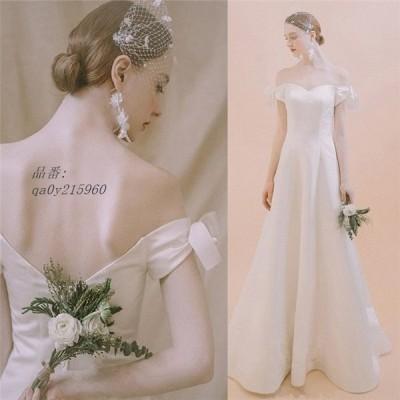 オフショルダー ウエディングドレス 二次会 Aライン ブライズメイド服 花嫁 結婚式 着痩せ 披露宴フォマールドレスお姫様 20代30代40代 白い ブライダル高級