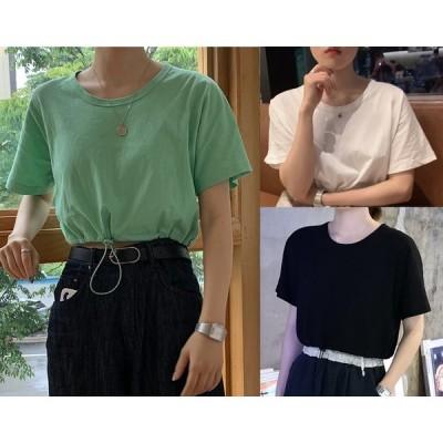 全3色 半袖Tシャツ ショット丈 スリム 着痩せ 無地 シンプル