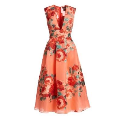 ワンピース レラローズ LELA ROSE Floral V Neck Tucked Midi Dress Salmon Coral Green Red 6