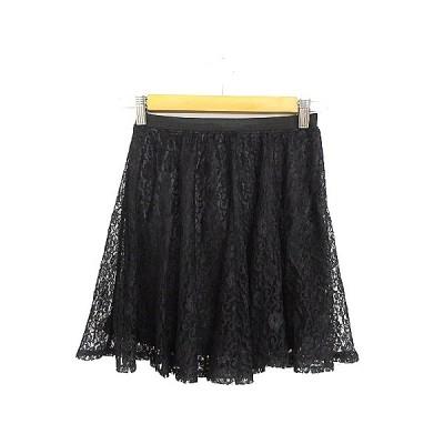 【中古】ミスティック mystic スカート ギャザー ミニ レース F 黒 ブラック /AAM39 レディース 【ベクトル 古着】