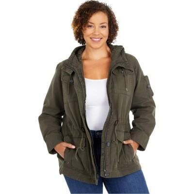 リーバイス Levi's レディース ジャケット フード 大きいサイズ ミリタリージャケット アウター Plus Size Hooded Cotton Military Parka Jacket Army Green