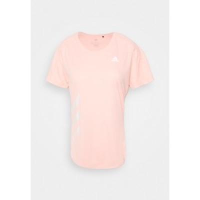 アディダス レディース シャツ トップス RUN IT - Print T-shirt - haze coral haze coral