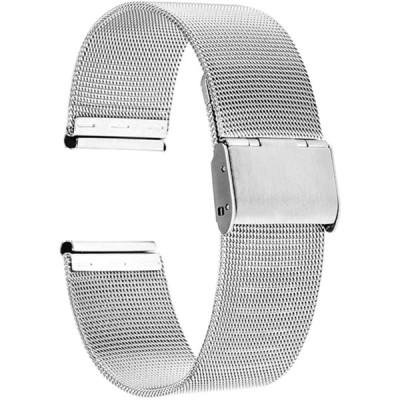 Reinherz 腕時計用ベルト 時計バンド 光沢 防水 ステンレス鋼 スライド式 バックル クラシック ミラネーゼ メッシュ ベルトメタル ブレス