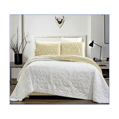 3-Piece Tropical Coast Seashell Beach KING Oversize OVERSIZE Bedspread WHITE / IVORY Coverlet Embossed Bed Cover set. Sea Shells, Sea Horse, Starfish