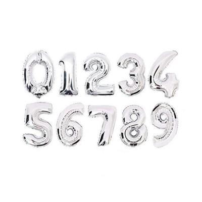 【Shiseikokusai 】数字 「0~9」40cm シルバーアルミ風船 誕生日パーティーバルーン 写真撮影 10個セット(shuzi-yinse