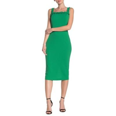 ベベ レディース ワンピース トップス Ruffle Bodycon Midi Dress GREEN