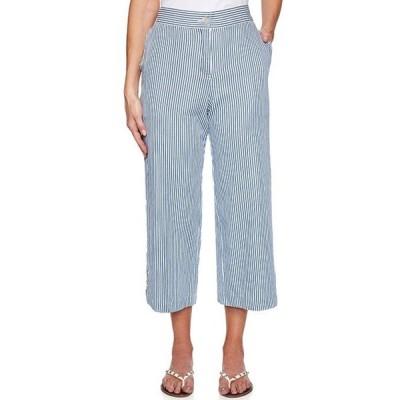 ルビーアールディー レディース カジュアルパンツ ボトムス Cruise Striped Yarn Dyed Wide Leg Cotton Crop Pants