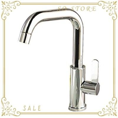フェリモア L型単水栓 シングルレバー 蛇口交換 洗面台 台所 手洗いボウル用 水道 立水栓 (シルバー)