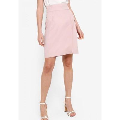 ザローラ ZALORA レディース ミニスカート スリットスカート スカート Pleat Detail Front Slit Skirt Dusty Pink