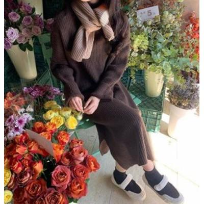 2色 ニットワンピース ロング リブ スリット 長袖 ゆったり カジュアル 大人可愛い 秋冬 韓国 オルチャン ファッション