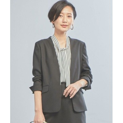 green label relaxing/グリーンレーベル リラクシング 【WORK TRIP OUTFITS】◆WTO D SHARK ノーカラージャケット BLACK フリー