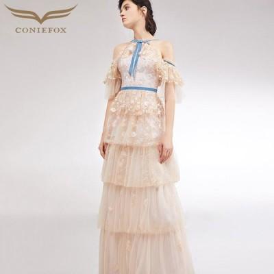 【CONIEFOX】高品質★肌透けチュールレースフリルリボン半袖付きAラインロングドレス♪ピンク ロングドレス 大きいサイズ 送料無料