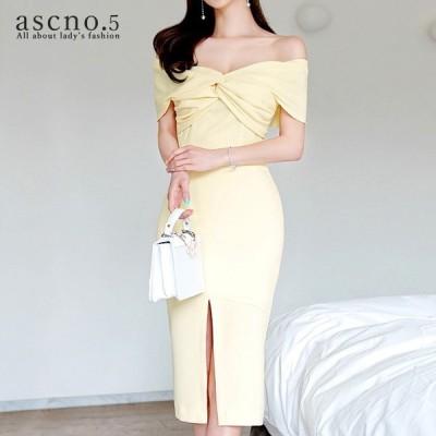 ワンピース ワンピ オフショル カシュクール風 ミディアム丈 ホワイト フェミニン ドレッシー きれいめ 韓国 韓国ファッション 30代 40代 デート