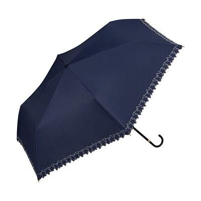 折りたたみ傘 遮光フレームスタースカラップ刺繍mini 801-5470 ネイビー