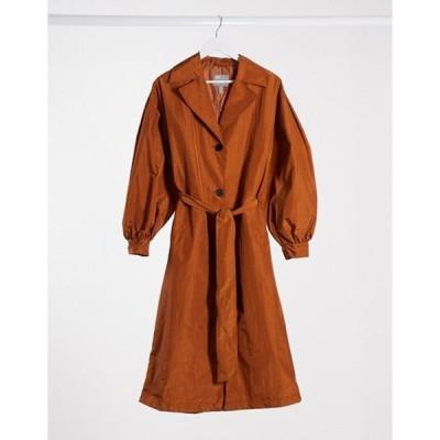 エイソス レディース コート アウター ASOS DESIGN taffeta balloon sleeve trench coat in rust