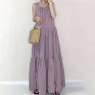 ワンピース 春 ワンピース レディース マキシワンピース 無地 ゆったり Aライン ロングワンピース きれいめ 上品 紫 ノースリーブ ギャザ